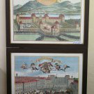 Two Old Prints With Views of Turin Square Castle Valentino Frame BM52