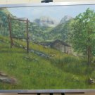 Old Painting oil Vintage landscape Alpine IN Summer Mountains Alps R93