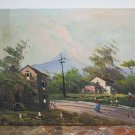 Painting oil On Linen Old landscape With Characters Signed Vintage G2