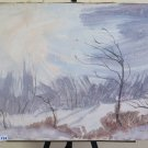 Painting Vintage Signed landscape Winter Snowy P30