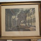 Antique Incision Signed Carl Wedderkopp Painting with Frame Coeval engraving R97