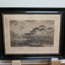 Engraving Antique with Frame Wood Georges Pierre Louis Serrier (1852-1949) R97