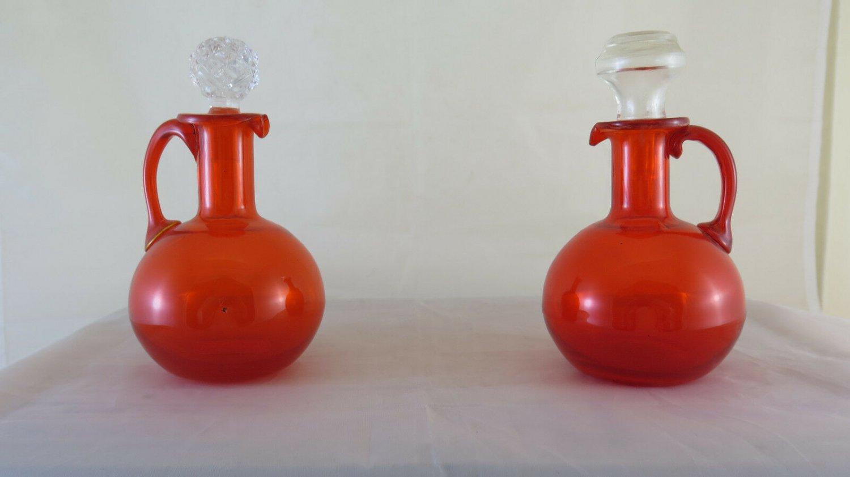 Cruet And Vinegar Dispenser Glass Colourful Vintage Half '900 Design Modern R117