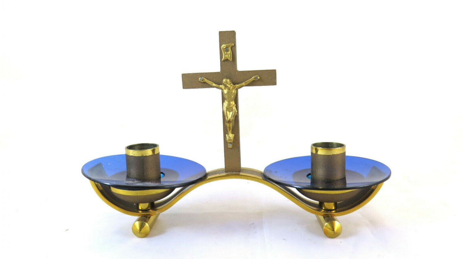 Candlestick Vintage Brass With Crucifix Small Size Candlestick GR6