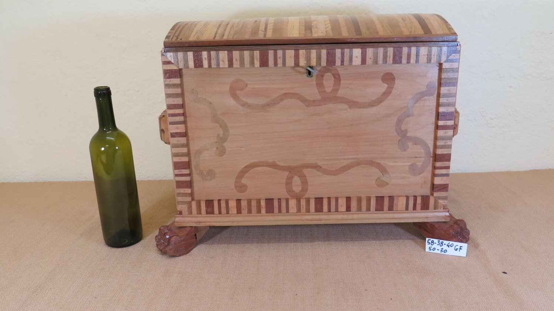 Trunk Box Vintage Wooden Inlaid Period Half 'Twentieth Century Box Gf