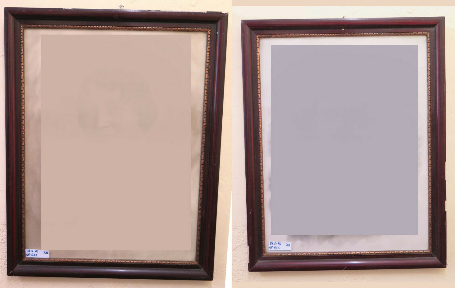 22 13/16x29 1/8in Couple Frames Vintage Wooden For Check Painted Mirror X11