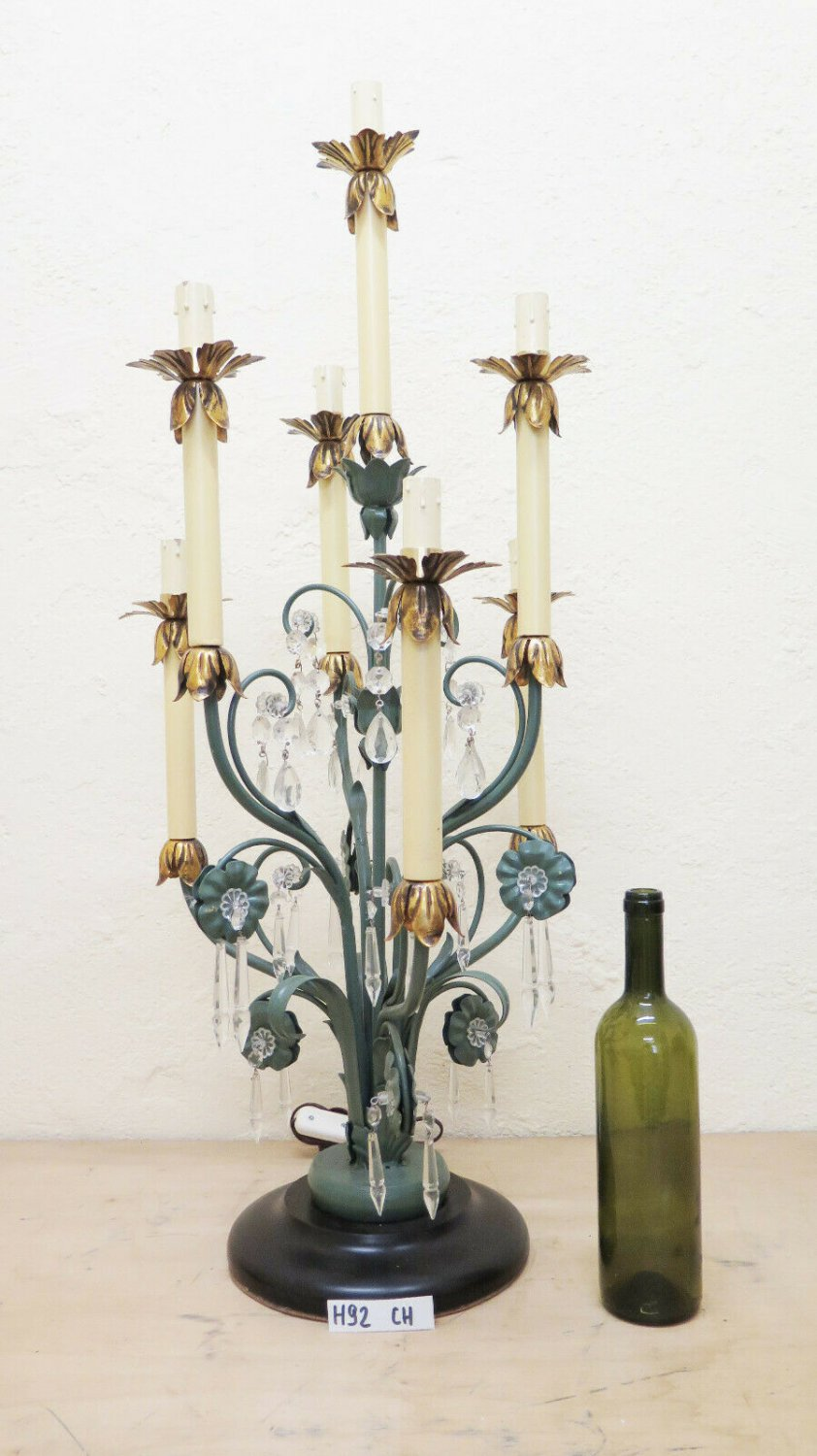 Table Lamp For Terra Wrought Iron Style Floral Vintage Handmade Hand Ch