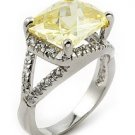 YELLOW RECTANGULAR STONE CZ RING