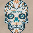 4 Inch Full Color Miami Dolphins Day Of The Dead Sugar Skull Vinyl Decal Sticker