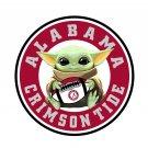 4 Inch Full Color Alabama Crimson Tide Baby Yoda Vinyl Decal Sticker
