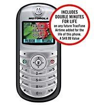 TRACFONE Motorola C139-4 Prepaid Cellular Phone w/ Bonus Double Minutes For Life