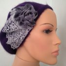 Purple warm beret with violet satin accents (28)