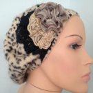 Tan animal print beret with tan and black accents (36)