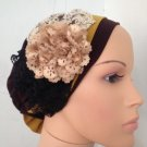 Brown stretchy snood with yellow flowers accents (134)