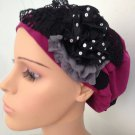 Fuchsia stretchy snood with black accents (135)