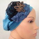 Turquoise stretchy snood with beaded black accents (136)