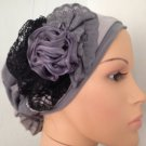 Grey stretchy snood with violet satin accent (143)
