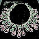 Vintage Mimi DiN Pink & Green Rhinestone Bib Necklace