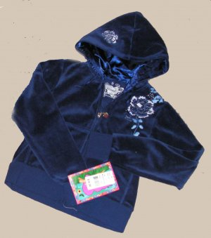 GIRLS BLUE VELOUR MUDD HOODIE ZIP-UP SZ 7/8 NWT