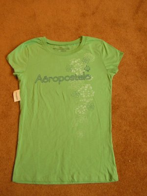 Women's Juniors Aeropostale T-shirt green Baby fit size L NWT