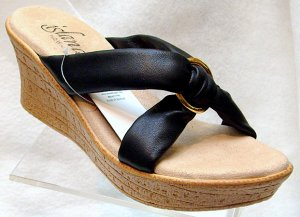 Island Slipper Women's P527 Wedge Sandal - BLACK