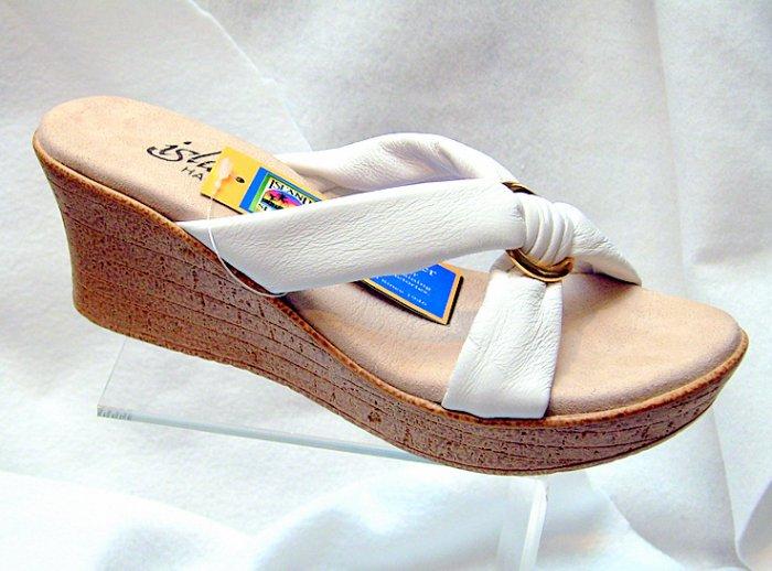 Island Slipper Women's P527 Wedge Sandal - WHITE