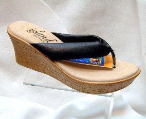 Island Slipper Women's P516 Wedge Thong - BLACK