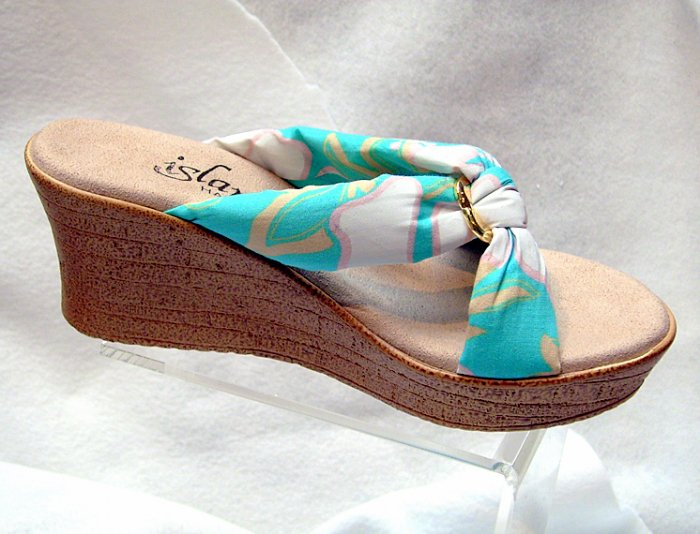 Island Slipper Women's P387 Wedge Sandal - AQUA