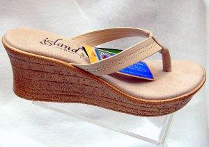Island Slipper Women's P7220 Wedge Sandal - COCONUT
