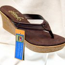 Island Slipper Women's P7220 Wedge Sandal - BROWN SUEDE