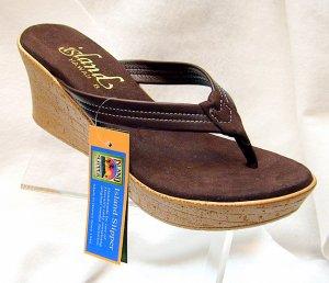 Island Slipper Women's P7220 Wedge Sandal - BROWN SUEDE