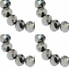 ELECTROPLATE SILVER - Faceted Rondelle Crystal ABACUS Glass Beads (6mm x 95pcs)