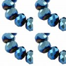 ELECTROPLATE BLUE - Faceted Rondelle Crystal ABACUS Glass Beads (6mm x 95pcs)