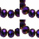 ELECTROPLATE PURPLE - Faceted Rondelle Crystal ABACUS Glass Beads (8mm x 70pcs)