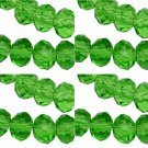 PERIDOT GREEN - Faceted Rondelle Crystal ABACUS Glass Beads (10mm x 35pcs)