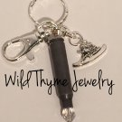 Bullet Keychain with western hat charm
