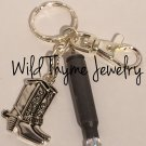 Bullet Keychain with Cowboy Boot Charm