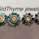 Bullet shell post earrings with Swarovski crystal halos
