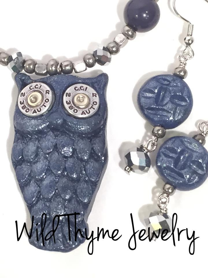 Blue Clay and Bullet Owl Necklace Bracelet Earrings Set