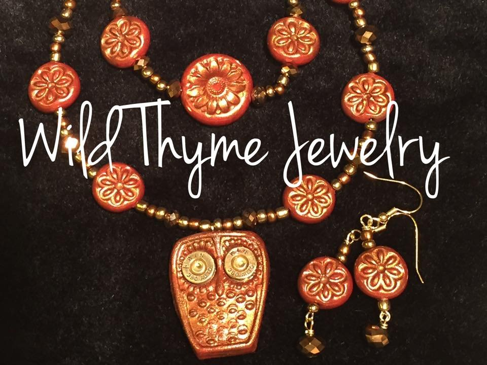Brown clay Owl pendant necklace, bracelet and earring set