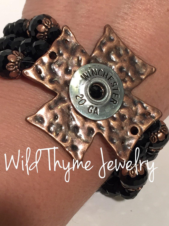 Hammered Copper Cross and Bullet casing bracelet