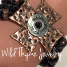 Hammered Copper Cross and Bullet casing bracelet