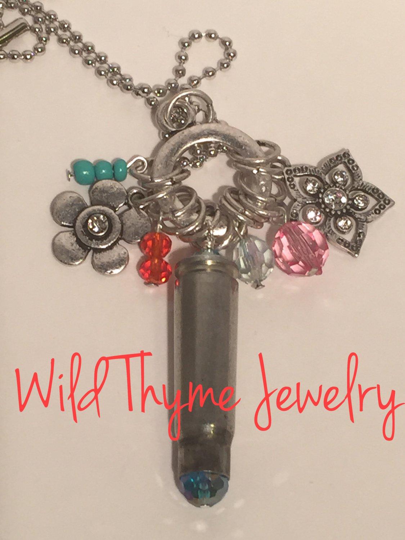 Funky Flower Bullet Casing Necklace