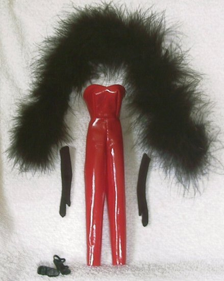 DOLL CLOTHES, RED CATSUIT, feather Boa, gloves, heels 11.5 inch fashion dolls