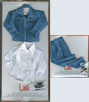 "Doll Jacket Blue Jeans Blouse by Candi 11.5"" fashion dolls"