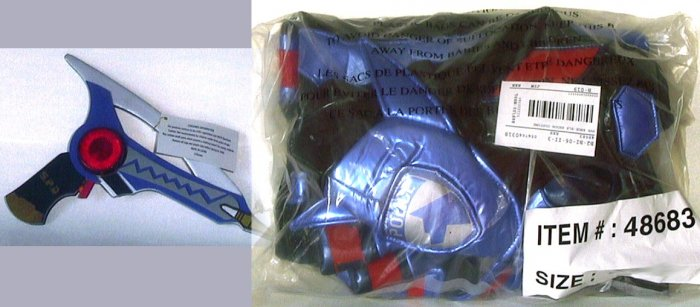 Disney store BLACK POWER RANGERS Costume + GUN, XS 4/5