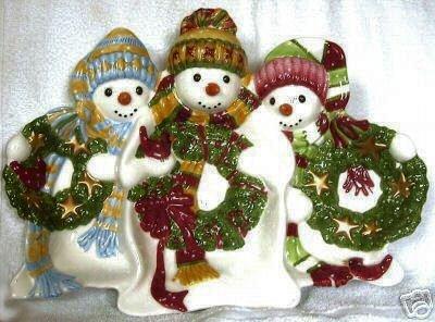 Fitz & Floyd The FLURRIES snowman 3 SECTION SERVER