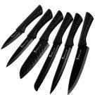 """6 Kitchen Knife Set Black Design Stainless Steel Knives Non Slip Handle 3.5-8"""""""