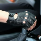Mens Genuine Leather Driving Gloves Half Finger Sheepskin Motorcycle Glove Black