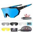 Polarized Cycling Glasses Bike Eyewear Sunglasses 5 Lens Mirrored UV400 Goggles
